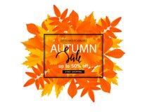 Manifesto di vendita di autunno con le foglie di caduta Vector l'illustrazione per le insegne del sito Web del cellulare e del si illustrazione vettoriale