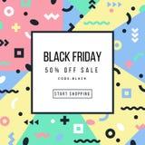 Manifesto di vendita di Black Friday con gli elementi geometrici Immagine Stock