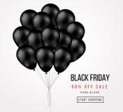 Manifesto di vendita di Black Friday con il mazzo scuro dei palloni Fotografie Stock