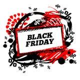 Manifesto di vendita di Black Friday con le macchie della pittura Immagine Stock Libera da Diritti