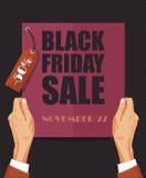 Manifesto di vendita di Black Friday nella retro progettazione con l'etichetta Fotografie Stock Libere da Diritti