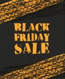 Manifesto di vendita di Black Friday nella retro progettazione con le piste della gomma Fotografia Stock Libera da Diritti