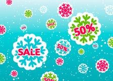 Manifesto di vendita di inverno con i fiocchi di neve variopinti Fotografie Stock