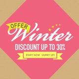 Manifesto di vendita di inverno, insegna o progettazione dell'aletta di filatoio Fotografia Stock