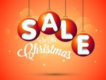 Manifesto di vendita di Natale, insegna o progettazione dell'aletta di filatoio Immagine Stock