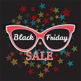 Manifesto di vendita di vettore che annuncia Black Friday Vendita di Black Friday degli occhiali da sole Fotografie Stock