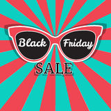 Manifesto di vendita di vettore che annuncia Black Friday Vendita di Black Friday degli occhiali da sole Fotografia Stock