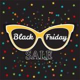 Manifesto di vendita di vettore che annuncia Black Friday Vendita di Black Friday degli occhiali da sole Illustrazione Vettoriale