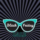 Manifesto di vendita di vettore che annuncia Black Friday Vendita di Black Friday degli occhiali da sole Immagini Stock