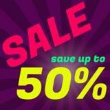 Manifesto di vendita, insegna Grande vendita, spazio 50 fuori Desig grafico Fotografia Stock