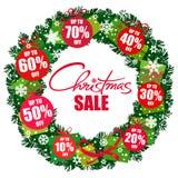 Manifesto di vendita di Natale Corona con le etichette di sconto 10,20,30,40,50,60,70 per cento fuori Lattering scritto a mano Ve royalty illustrazione gratis