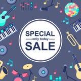 Manifesto di vendita speciale con gli strumenti musicali su fondo blu grigio Backgroud per le progettazioni differenti: carta, illustrazione di stock