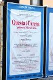 Manifesto di Verona dei Di dell'arena fotografia stock
