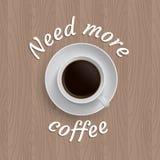 Manifesto di vettore con la tazza di caffè Fotografia Stock Libera da Diritti