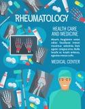 Manifesto di vettore degli elementi della medicina di reumatologia illustrazione vettoriale