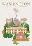 Manifesto di vettore del distretto di Columbia Illustrazione di viaggio di U.S.A. Carta variopinta degli Stati Uniti d'America wa Fotografia Stock Libera da Diritti