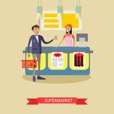 Manifesto di vettore del supermercato nello stile piano Prodotti dell'affare dei clienti in alimentari Compera della gente Fotografia Stock