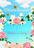 Manifesto di vettore di saluto di estate dei fiori di fioritura illustrazione di stock