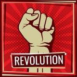 Manifesto di vettore di lotta di rivoluzione con il pugno della mano del lavoratore alzato royalty illustrazione gratis