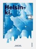 Manifesto di vettore di pendenza della città dell'orizzonte della Finlandia Helsinki Fotografia Stock