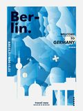 Manifesto di vettore di pendenza della città dell'orizzonte di Gerlmany Berlino Fotografia Stock