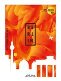 Manifesto di vettore di pendenza della città dell'orizzonte di Gerlmany Berlino Fotografie Stock