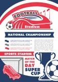 Manifesto di vettore per il campionato di calcio di calcio Immagini Stock