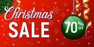 Manifesto di vettore di vendita di Natale, insegna di sconto del buon anno fotografia stock libera da diritti