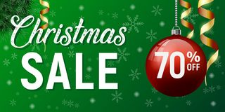 Manifesto di vettore di vendita di Natale, insegna di sconto del buon anno immagini stock libere da diritti