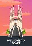 Manifesto di viaggio all'orizzonte della Spagna Sagrada Familia Illustrazione piana di vettore illustrazione vettoriale