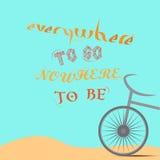 Manifesto di viaggio Cielo della sabbia del ciclo della bicicletta Estate tropicale Guida di ciclismo illustrazione di stock