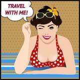 Manifesto di viaggio con Pop art che sbatte le palpebre donna illustrazione vettoriale