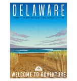 Manifesto di viaggio del Delaware della spiaggia serena e dell'Oceano Atlantico illustrazione vettoriale