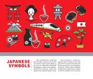 Manifesto di viaggio del Giappone dei simboli giapponesi di sightseeings e delle icone famose dei punti di riferimento della cult royalty illustrazione gratis