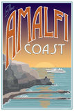 Manifesto di viaggio della costa di Amalfi Immagine Stock