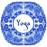 Manifesto di yoga con un modello etnico dell'acquerello Immagine Stock Libera da Diritti