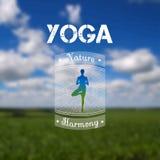 Manifesto di yoga con un paesaggio naturale ENV, JPG Fotografia Stock
