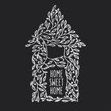 Manifesto disegnato a mano della casa dolce casa Illustrazione dell'annata di vettore Fotografie Stock