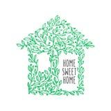 Manifesto disegnato a mano della casa dolce casa Illustrazione dell'annata di vettore Fotografia Stock Libera da Diritti