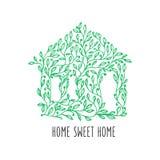 Manifesto disegnato a mano della casa dolce casa Illustrazione dell'annata di vettore Fotografia Stock