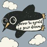 Manifesto disegnato a mano di tipografia del pinguino di volo Immagine Stock