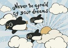 Manifesto disegnato a mano di tipografia del pinguino di volo Immagini Stock
