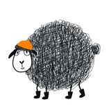 Manifesto disegnato a mano sveglio della scuola materna con il carattere animale delle pecore fresche del fumetto con i vetri e u royalty illustrazione gratis