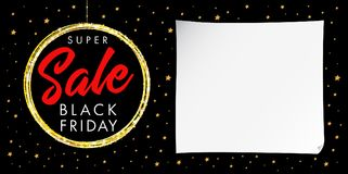 Manifesto eccellente della stella di Black Friday di vendita Fotografie Stock