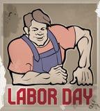 Manifesto enorme dell'operaio con tipografia di Festa del Lavoro Immagine Stock Libera da Diritti