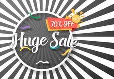 Manifesto enorme di vettore di vendita con le linee di Sunburs su fondo Modello luminoso dell'aletta di filatoio di vendita royalty illustrazione gratis