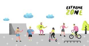 Manifesto estremo di sport, insegna, opuscolo Skateboarding dell'adolescente, uomo sulla bicicletta, rotolamento della ragazza Ge Immagini Stock