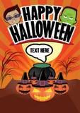 Manifesto felice del fumetto di Halloween immagini stock