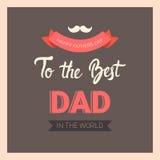 Manifesto felice della cartolina d'auguri di Day Family Holiday del padre retro Fotografia Stock Libera da Diritti