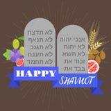 Manifesto felice dello shavuot con una roccia di dieci ordini Immagine Stock Libera da Diritti
